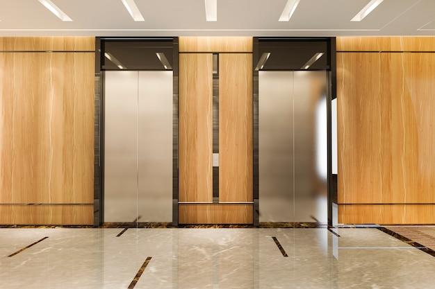 ロビーと廊下の近くに豪華なデザインのビジネスホテルの3 dレンダリングモダンなスチールエレベーターリフトロビー