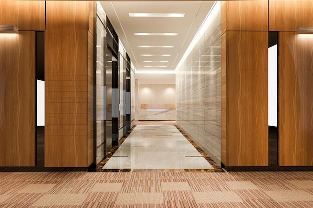 로비와 복도 근처 고급스러운 디자인의 비즈니스 호텔에서 3d 렌더링 현대 철강 엘리베이터 리프트 로비