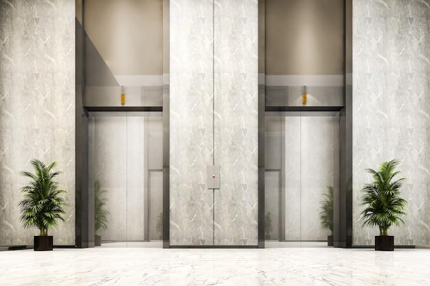 고급스러운 디자인을 갖춘 비즈니스 호텔의 3d 렌더링 현대적인 강철 엘리베이터 리프트 로비