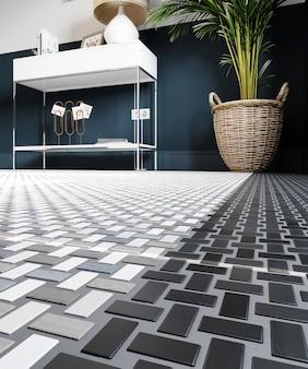 3d 렌더링. 현대적인 인테리어에 흰색과 회색 패턴이있는 현대적인 타일 바닥.