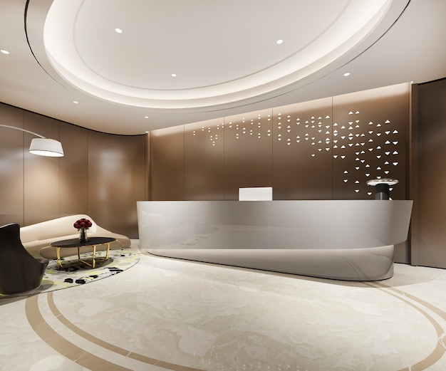 3d rendering modern warm brown luxury hotel and office reception and lounge