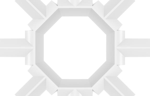 3d 렌더링. 현대 흰색 육각형 모양 접시 디자인 벽 배경.