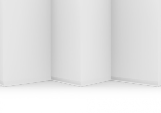 3d rendering. modern white triangle zig zag wall and floor backgorund.