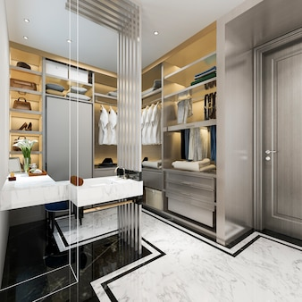 3d rendering modern white wood walk in closet with wardrobe near make up table