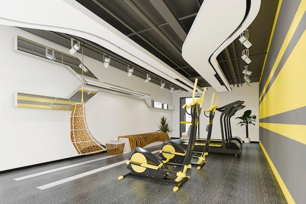 3d 렌더링 현대 노란색 체육관 및 피트니스
