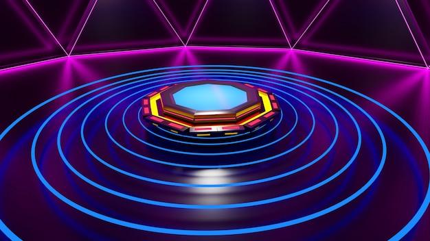3d-рендеринг moke up platform blue halo glow black для демонстрации абстрактного продукта.