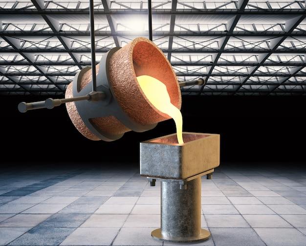 3d рендеринг расплавленного металла, заливаемого в форму