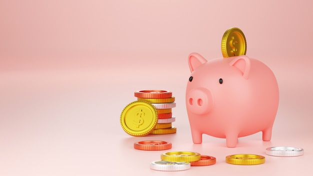 3d rendering money savings concept, piggy bank with dollar coins