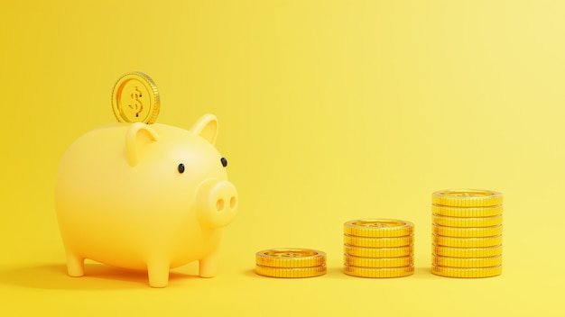 3d rendering money savings concept, piggy bank with stack of dollar coins