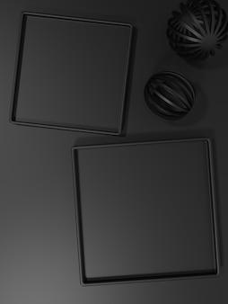 뷰티 헬스케어 스킨케어 식품 및 음료 제품에 대한 3d 렌더링 흑백 검은색 사각형 플레이트 제품 디스플레이 배경