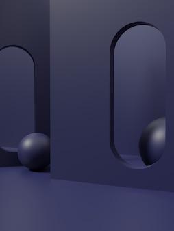 幾何学的な3dレンダリングモノクロダークブルーまたはグリーンスタジオショット製品ディスプレイの背景