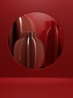3d-рендеринг монохромный красный минимальный китайский стиль отображения продукта фон для лунного новогоднего праздника луны или фестиваля драконьих ботинок события и продукты китайская корея или японское украшение фонарей