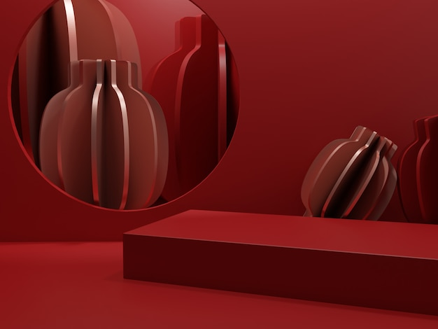 3d rendering monochrome red minimal chinese style product display background for lunar new year