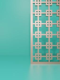 3d-рендеринг монохромного бирюзового и светло-розового золота студийный снимок фона с декоративным экраном в китайском стиле для демонстрации продуктов питания и напитков для красоты