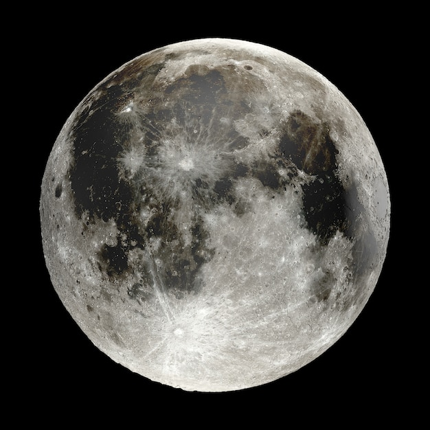 3d rendering of moon isolated on black background. elements of this image are furnished by nasa