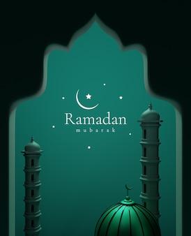 라마단 인사와 함께 3d 렌더링 모스크와 미나렛.