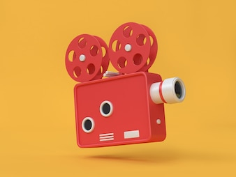 3d rendering movie-cinema projector cartoon style yellow background movie cinema concept