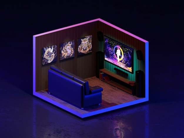 3d rendering movie room isometric., 3d illustration.