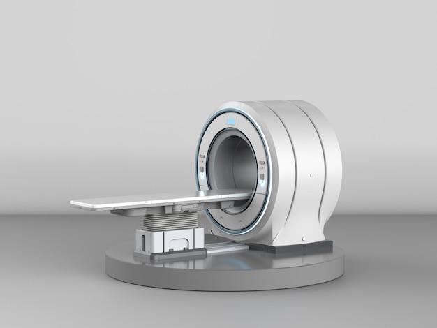 3d-рендеринг мрт-сканера или магнитно-резонансного томографа на сером фоне
