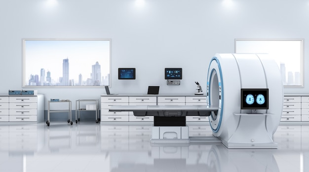 3d-рендеринг мрт-сканера или магнитно-резонансного томографа