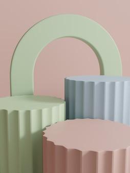 スタッキングプラットフォームブロックを使用した3dレンダリングマルチカラースタジオショット製品ディスプレイの背景