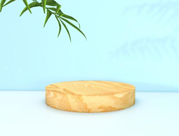 3d-рендеринг. естественный фон красоты для отображения косметической продукции. цилиндрическая деревянная коробка дисплея.