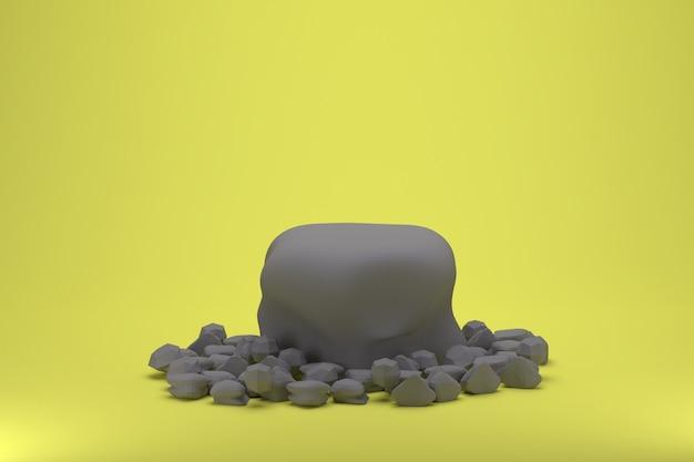 노란색 배경에 3d 렌더링 자연 석재 제품 스탠드