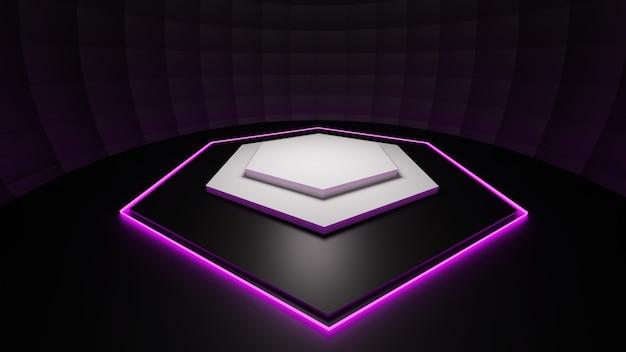 3d визуализация неоновый шестиугольник фон