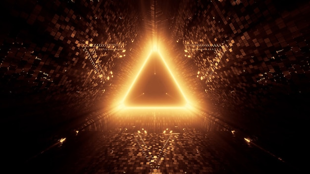 3d rendering of neon laser lights in a triangular shape with a black background