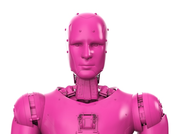 3d rendering neon pink ai robot or cyborg isolated on white background