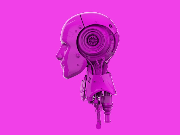 3d rendering neon pink single color ai robot on pink background