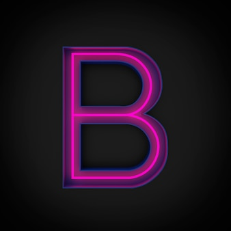 3dレンダリング、ネオンレッドの大文字のbが点灯し、青い文字の内側。