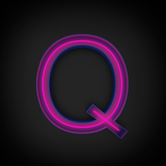 3d rendering, neon red capital letter q lighted up, inside blue letter.