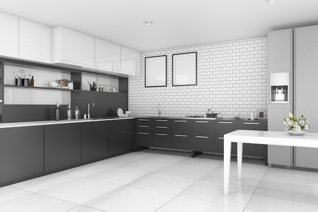 3d rendering nice contemporary style black kitchen