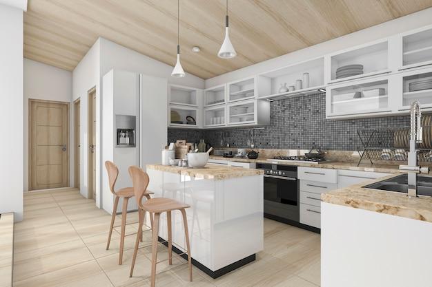 3d рендеринг хорошая современная деревянная кухня и столовая