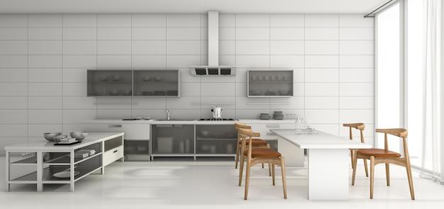 3d рендеринг хороший дизайн кухни и столовая по утрам