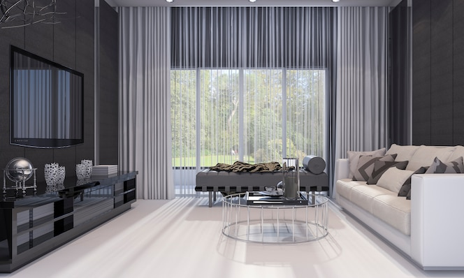 Premium Photo 3d Rendering Nice Modern Design Luxury Living Room With Grey Sofa And Tv Shelf