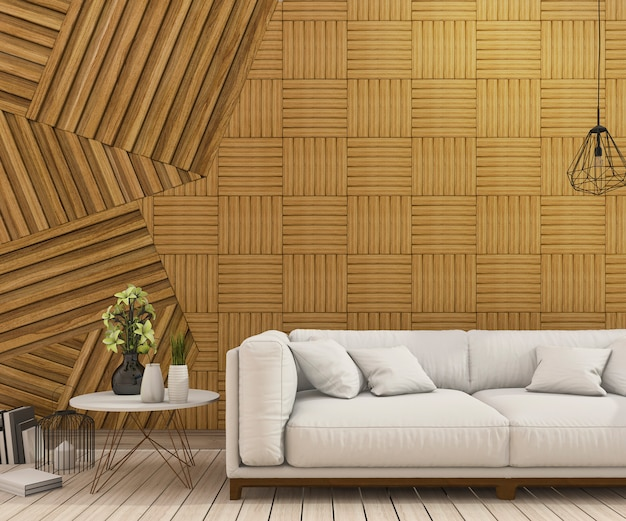 3d rendering nice sofa with abstract wood wall design