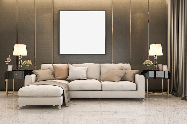 3d rendering nice soft sofa near luxury golden decor