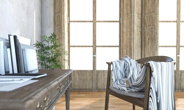 3d rendering nice working zone in living room