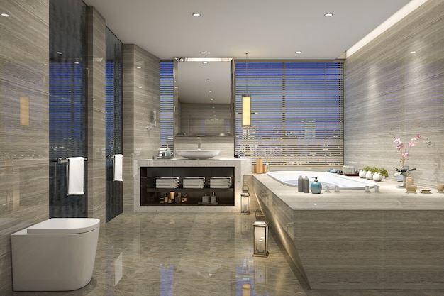 3d rendering night view bathroom with modern luxury design