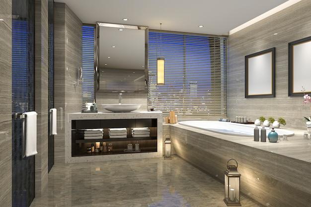 3d rendering night view bathroom with modern luxury