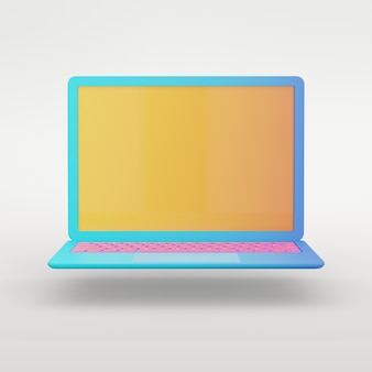 3d rendering object. colorful blue laptop with yellow screen and pink keyboard isolated white background. clipping path image.