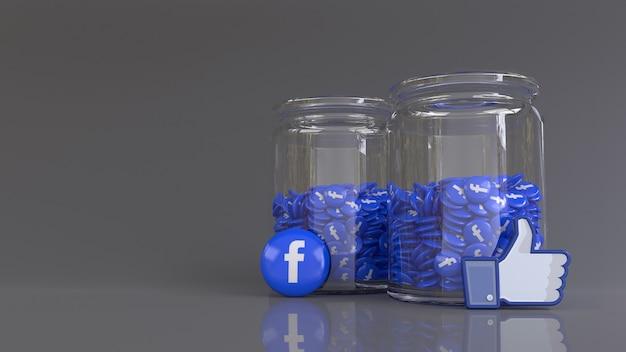 3d-рендеринг 2 стеклянных банок, заполненных множеством глянцевых значков facebook и подобных значков