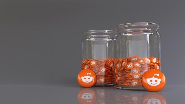 3d-рендеринг 2 стеклянных банок, заполненных множеством глянцевых таблеток reddit
