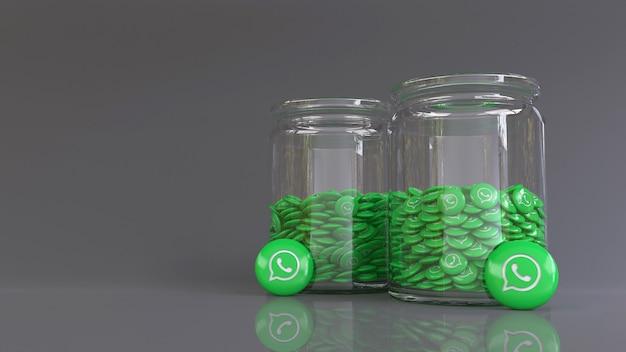 3d-рендеринг 2 стеклянных банок, заполненных множеством глянцевых значков whatsapp
