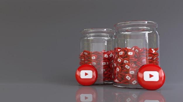 3d-рендеринг 2 стеклянных банок, заполненных множеством глянцевых значков youtube