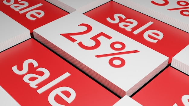 3d рендеринг 25% и этикетка продажи