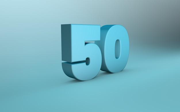 3d-рендеринг 50-го числа. 3d-надпись пятьдесят номер.