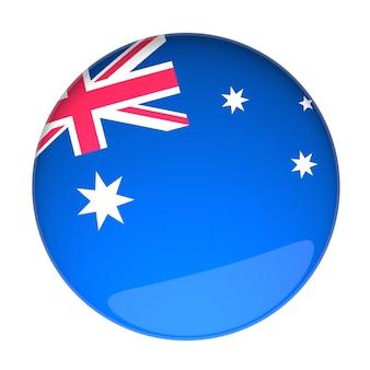 호주 국기가 있는 배지의 3d 렌더링